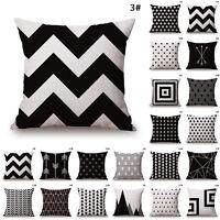 Modern Black & White Sofa Pillow Case Cotton LinenThrow Cushion Cover Home Decor