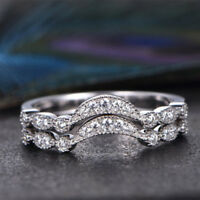 925 Silver Rings for Women Fashion Jewelry White Sapphire Wedding Ring Size 6-10