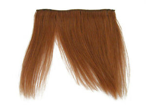 "CLIP-IN HUMAN HAIR FRINGE BANGS CYBERLOX #30 AUBURN BROWN UNCUT 8"""
