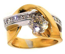 1.60ct Round Diamond Ring 14k Two Toned Gold