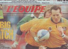 journal  l'equipe 02/11/91 RUGBY AVANT  FINALE COUPE DU MONDE AUSTRALIE ENGLAND