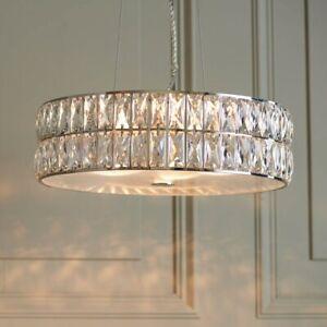 Crystal Chandelier LED Round Pendant Chrome Plate Finish  Light Diameter: 38cm
