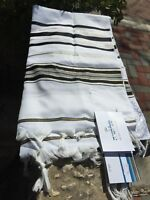 "Kosher Tallit Talis Prayer Shawl Acrylic 24""X72"" Made in Israel Black and Gold"