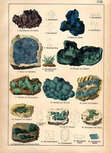 1886 KENNGOTT CHROMO cuprite, malachite, azurite, lunnite, chalcanthite, ...