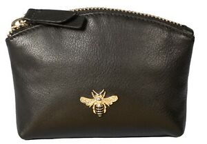 Mala Leather Coin & Card Purse Black/red bumble bee RFID MASON collection BEES