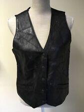 Hip Length Leather Button Regular Size Waistcoats for Women