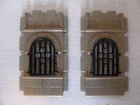 Playmobil 2 Wandelemente mit Fenster  Ritterburg 3666  Ritter Fachwerkhaus