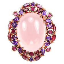 55.35 CT. REAL ROSE QUARTZ AMETHYST RHODOLITE RUBY STERLING 925 SILVER RING 6.25