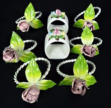 6 Painted Metal Italian Vtg Napkin Rings Rose 2 Porcelain Pintar Handpainted