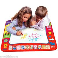For Children Doodle Drawing Toys 1 Painting Mat + 2 Water Drawing Pen Blue
