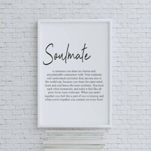 Definition Of Soulmate Print   Wall Art   Home Decor   Anniversary Bedroom Print