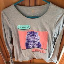 Total Girl Gray Long Sleeve Shirt With Kitten Design Size XXL Plus 20.5