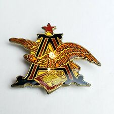 """Anheuser Busch Beer A & Eagle Logo Red """"A"""" w/ iridescent Blue Lapel Pin Rare 80s"""
