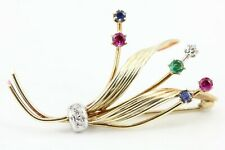 Gold Brosche 585 14K Diamant Rubin Smaragd Saphir zs ca 0,50ct Länge 45,2mm