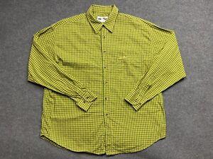 Ellesse Shirt Mens Large Collared Long Sleeve Button Up Regular Adult Yellow
