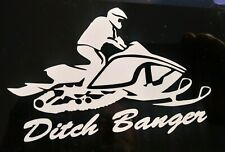 """Ditch Banger Snowmobile - White Vinyl Decal other colors 3.5""""x5.5"""""""
