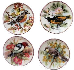 Miniature Dollhouse Set of 4 Bird Flowers Plates Handemade USA 1:12 Scale New