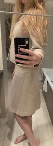 Lucy Hurst pink /blue/cream tweed formal suit edge to edge jacket UK12-14