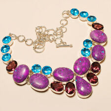 "Purple Turquoise, Amethyst, Blue Topaz 925 Silver Necklace 16-17.99"" T203882"