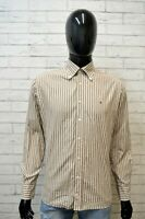Camicia Uomo TOMMY HILFIGER Taglia L Maglia Polo Shirt Righe Hemd Cotone Bianco