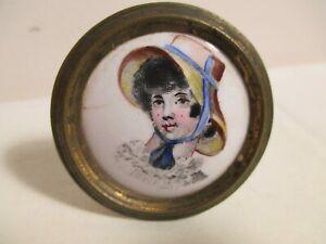 Antique Battersea Enamel Porcelain Lady's Portrait Tieback Drawer Pull