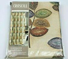 CROSCILL TUSCAN RUST MAROON SHIMMER SEMI SHEER FABRIC SHOWER CURTAIN 71 X 72