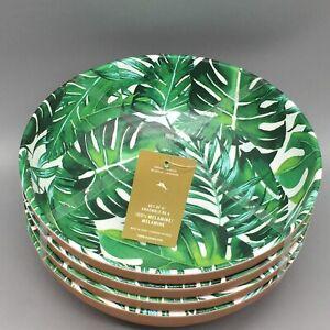 x4 Tommy Bahama Palm Banana Leaf Melamine Bowl Set Terra Cotta Look Tropical