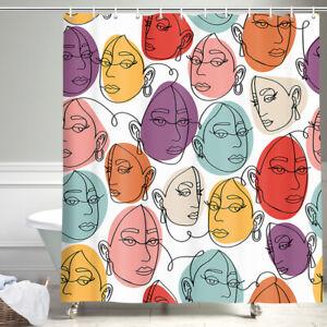 Abstract Line Human Face Shower Curtain Bathroom Decor Fabric 12hooks