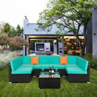 Lake Blue Sectional Furniture Wicker Rattan Sofa Set Home Cushioned Couch Garden