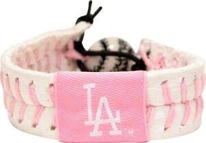 Los Angeles Dodgers MLB Leather Baseball Laced Seams Bracelet Wristband