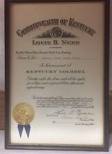 Vintage Honorable Order of Kentucky Colonels Framed Membership Certificate 1970