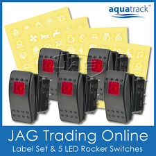 LABELS & 5x RED LED ROCKER SWITCH CARLING/ARB/NARVA-STYLE-Boat/4x4/Truck 12V~24V