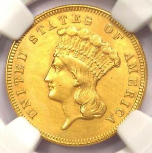 1886 Three Dollar Indian Gold Coin $3 - Certified NGC AU Details - Rare Date!