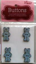 VIZZY WOODEN BUTTONS TEDDY BEARS BLUE  FOR QUILTS, CRAFTS ETC 3CM TALL PACK 4