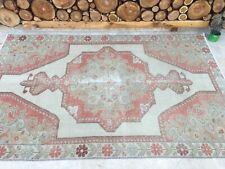 4'6''x7'1'' Antique Rug Carpet,Vintage Oushak Rug,Large Turkish Rug,Ushak Rug