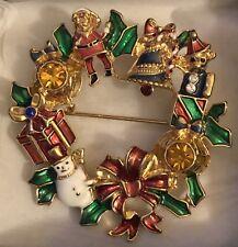 Vintage 2010 Avon Collectible Christmas Holiday Wreath Pin In Box Santa