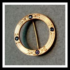 Blue Sapphires Circle Brooch Pin Vintage 14 K Rose Gold And