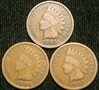 1903 1904 1905 1c Indian Head Cent Penny Set Lot , All 3 Coins , Circulated