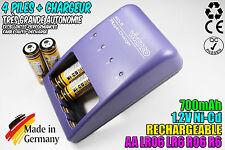 CHARGEUR VIVANCO CHARGER + 4 PILES ACCUS RECHARGEABLE NI-CD 1.2V AA 700MAH LR06