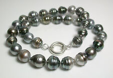 11-13mm AA+ multicolour grey Tahitian saltwater pearl & sterling silver necklace
