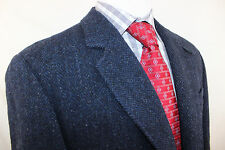EUC Orvis Harris Tweed Blue Herringbone Leather 2 Button Elbow Patch 42R