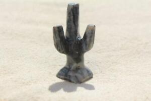 "1-1/2"" Hand Carved Stone Soapstone Cactus Figurine Made In Peru Fetish/Figure"