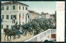 Treviso Città Ponte San Martino Savoia 1903 Carrozza ABRASA SCOLLATA cartolina Q