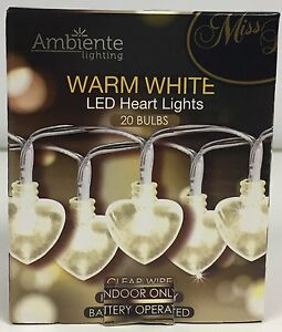 20 BATTERY OPERATED HEART LIGHTS WHITE