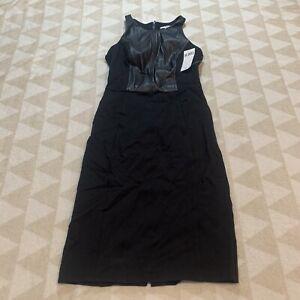 Bar III womens dress Ponte Faux Leather Pleather Size XXS Sleeveless Nwt
