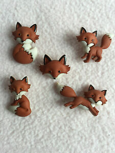 DRESS IT UP BUTTONS ~ OUT FOXED ~ 5 CUTE FOXES ~ BUSHY TAIL ~ WOODLANDS ~ CRAFTS