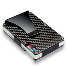 RFID Metal Carbon Fiber Elastic Band Slim Money Clip Credit Card Holder Case 1Pc