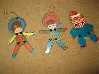 3 VTG CARDBOARD CUTOUT  ORNAMENTS*JOINTED*CLOWN BOY GIRL WINTER CHRISTMAS TREE