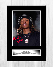 King Von 3 A4 reproduction autograph picture poster with choice of frame