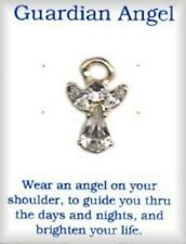 Guardian Angel Pin With 4 Austrian Crystal Stones, Gold Plate, Made in USA NEW